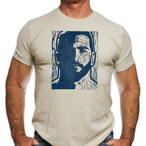 Bearded (lino-cut) hand printed T-shirt