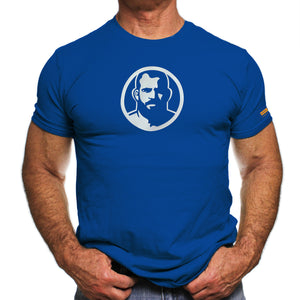 Rubber Man Icon Patch on Royal Blue Tshirt