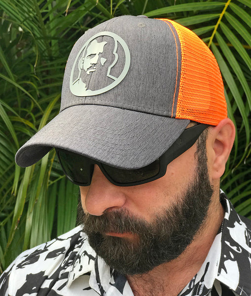 Rubber Man Icon orange mesh cap
