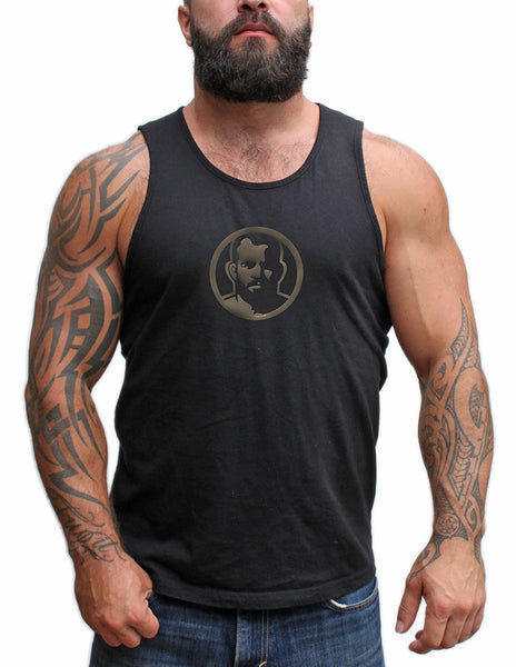 Rubber Man Icon Patch on Black Tshirt & Tank Top