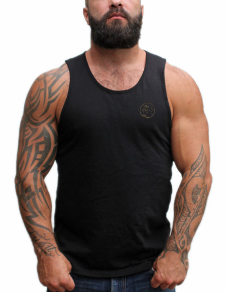 Small Rubber Man Icon Patch on Black Tshirt & Tank Top