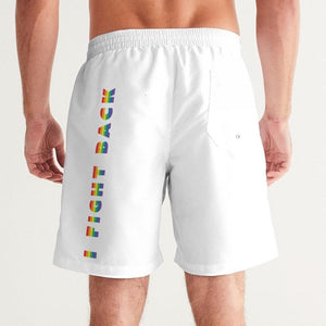 I Fight Back  white Men's Swim Trunk
