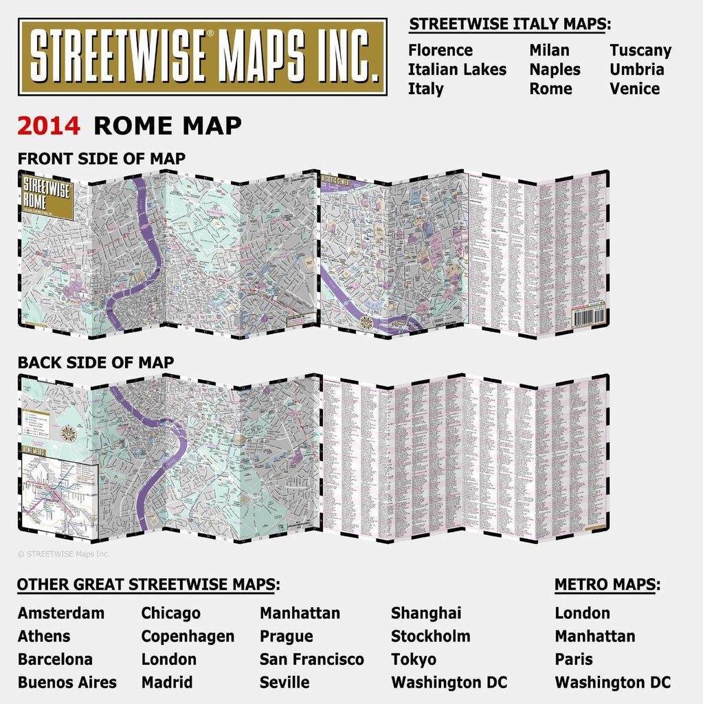 Streetwise Rome Map Laminated City Center Street Map By - Washington dc laminated map