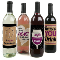 Teacher Appreciation - Wine Bottle Labels - Set of 4 by Big Dot of Happiness