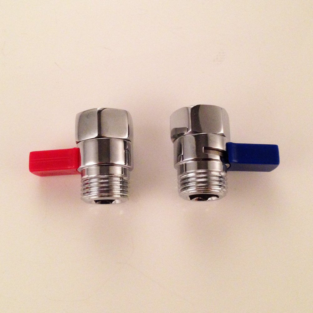 kes solid brass shower head shut off valve with long blue swith chrome