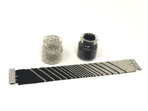 Black to Silver Stripes Beading Kit