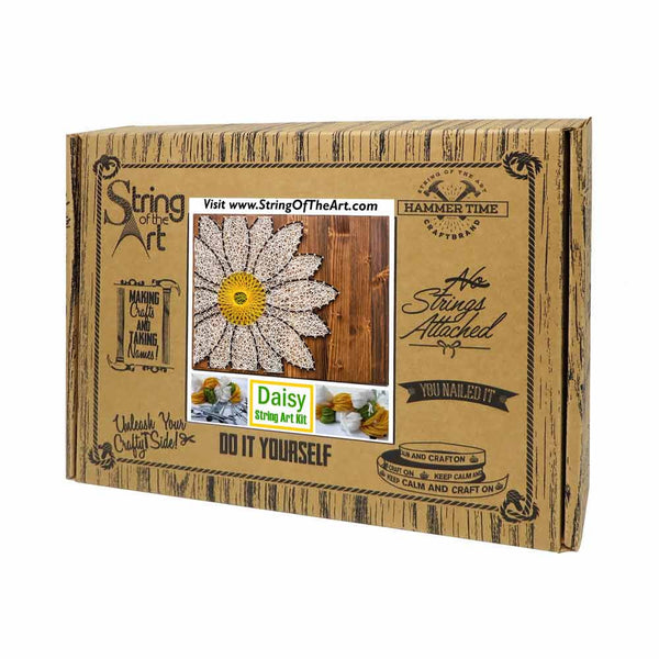 white daisy string art do it yourself kit string of the art. Black Bedroom Furniture Sets. Home Design Ideas