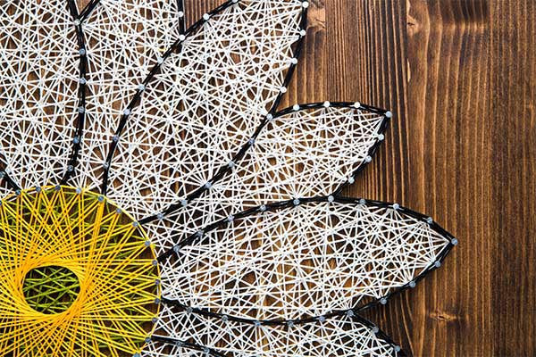 White daisy string art do it yourself kit string of the art white daisy string art do it yourself kit solutioingenieria Image collections