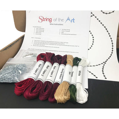 Pouring Wine String Art Kit on Painted Wood