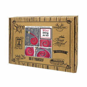 Pouring Wine String Art Kit on Painted Wood - String of the Art