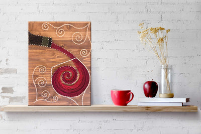 Stained Wood Pouring Wine String Art Kit