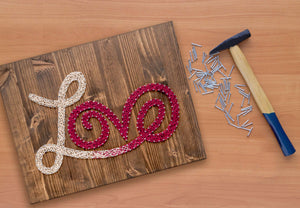 Red and White Love String Art Kit