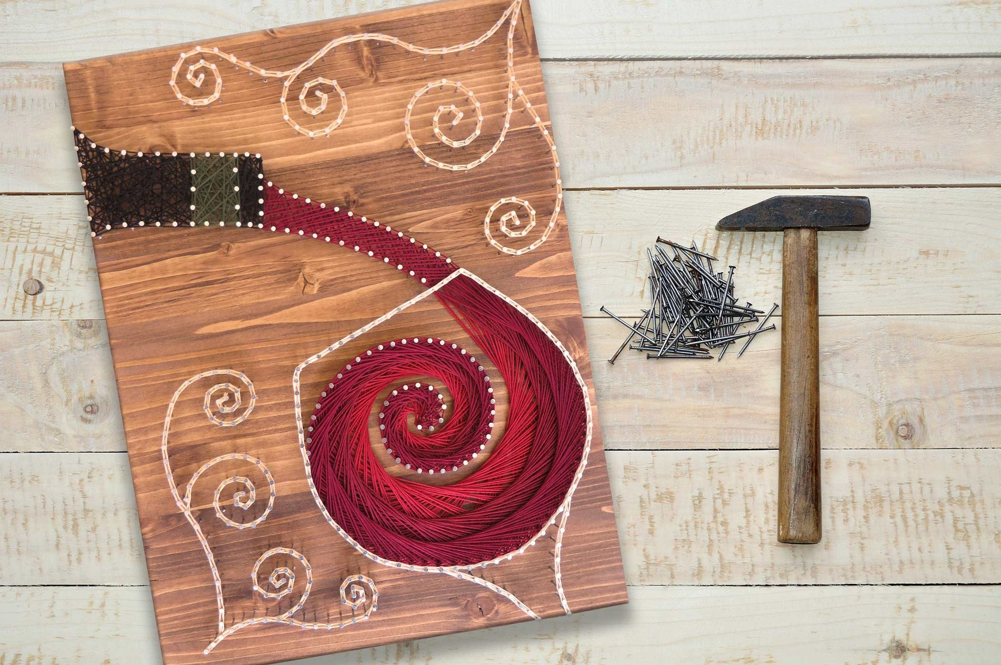 photograph regarding Free Printable String Art Patterns With Instructions identify Stained Picket Pouring Wine String Artwork Package - String of the Artwork
