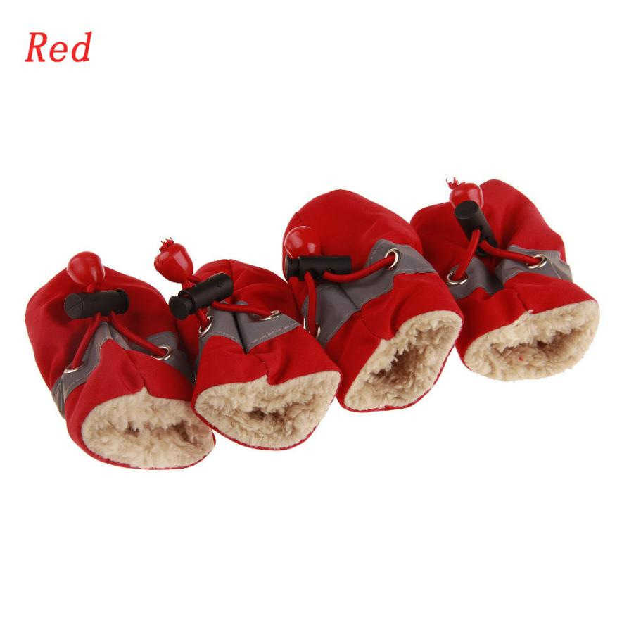 1 Set New Qualited Comfortable Anti-Slip Shoes Plus Cashmere Leather Puppy Dog Cat Boots Sneaker Boots Dog Shoes Winter Jan5