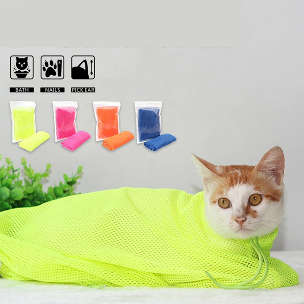 1 pc  Multifunctional Cat Grooming Bags Cat Bath Bags Fitted Mesh Cat Clean Bags Pet Supplies Gift Home Candy Colors W3