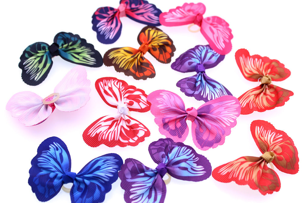 100pcs New Dog Cat Hair Bows Bright Butterfly Pet Dog Grooming Pet Supplies