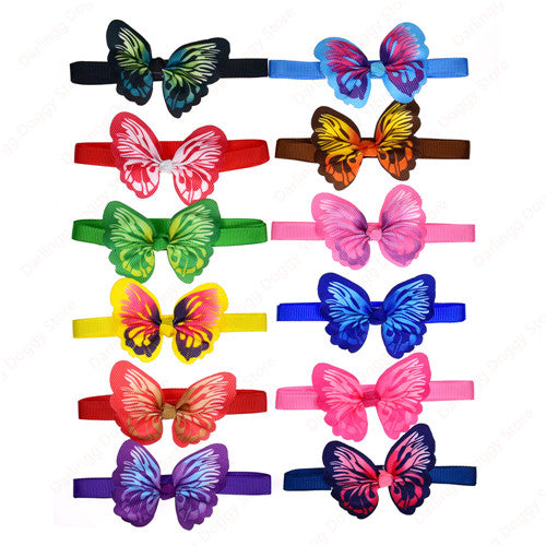 100pcs Valentine's Day Pet Puppy Dog Cat Bow ties Adjustable Butterfly Dog Cat Bowties Dog Accessories Collar Pet Supplies