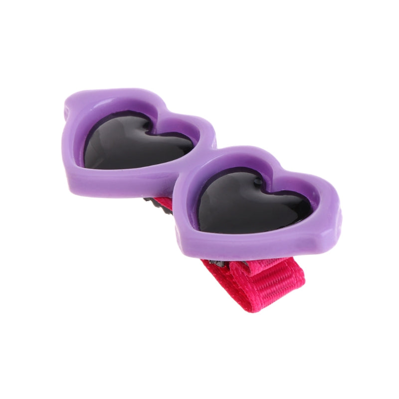 10Pcs Pet Hair Clips Heart Glasses Grooming Supplies Dogs Cats Hair Accessories