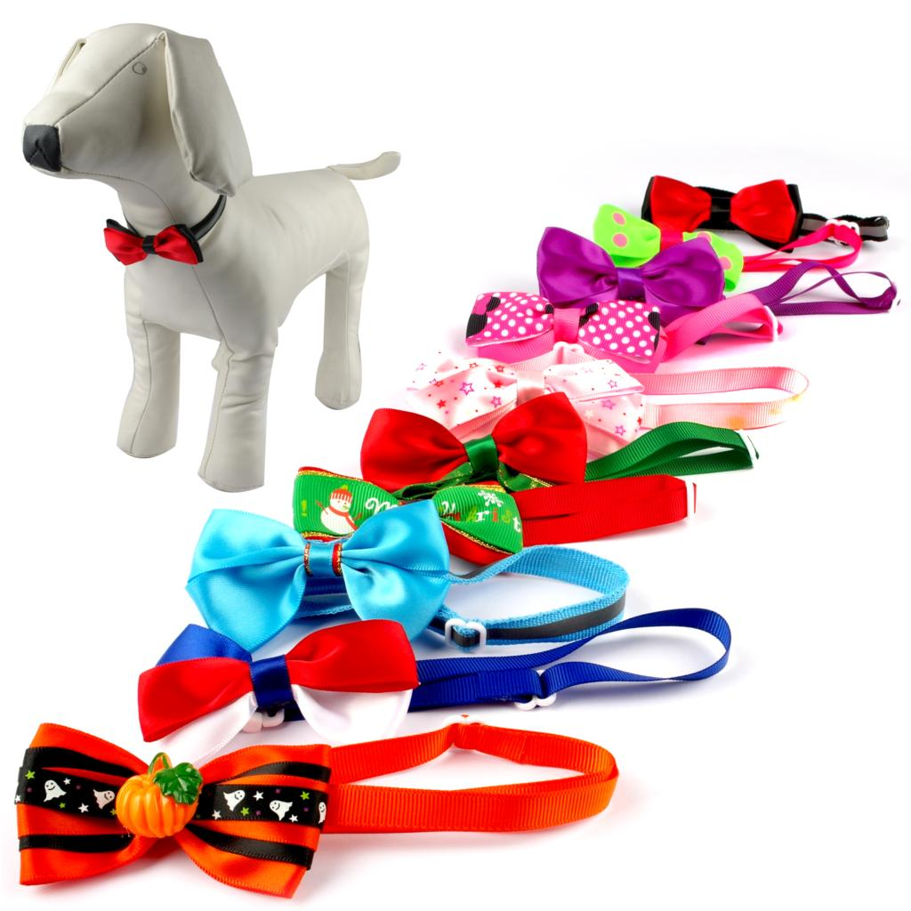 10pcs Dog Cat Bow Tie Kitten Collar Bowtie Puppy Necktie Cute and Adjustable Dogs Grooming Supplies  Mixed Colors