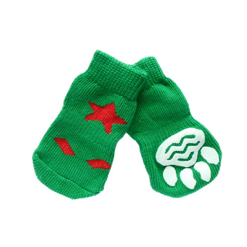 11 Styles 4pcs Pet Dog Knitted Shoes Pattern Non-slip Socks Paws Cover Shoes Size S M L XL LH8s