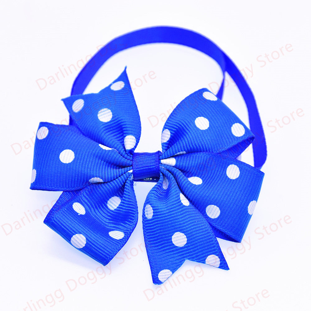 120pcs New Pet Dog Cat Bowtie Adjustable Solid&Polka Dots Ribbon Collars Pet Dog Bow ties Dog Accessory Pet Supplies