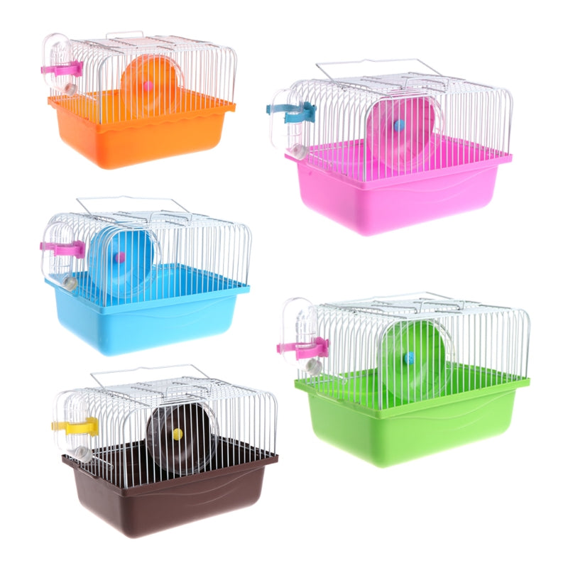 1PC ortable Pet Hamster Cage House Travel Carrier Feeding Bowl With Running Wheel