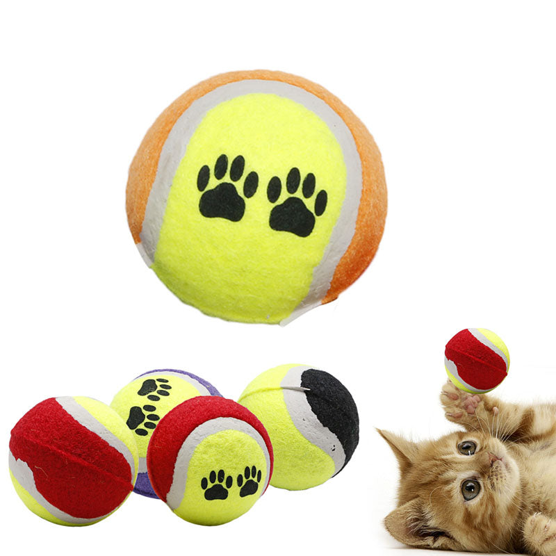 1Pc Small Colorful Dog Paw Puppy Cat Bouncy Tennis Play Catch Toy Pet Supplies