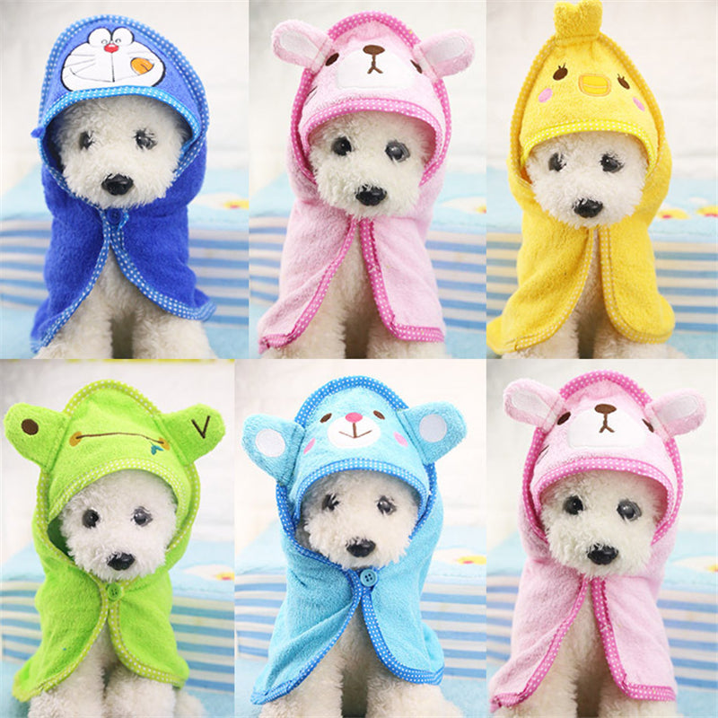 1Pc Soft Dog Bath Towel Pet Drying Towel Puppy Cleaning Necessary Hooded Super Absorbent Bathrobes Pet Supplies