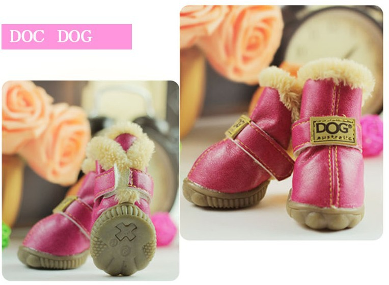 1Set=4Pcs Cow Muscle Outsole Autumn And Winter Snow Boots Casual Dog Shoes Pet Slip-resistant Waterproof Rain Shoes For Puppy