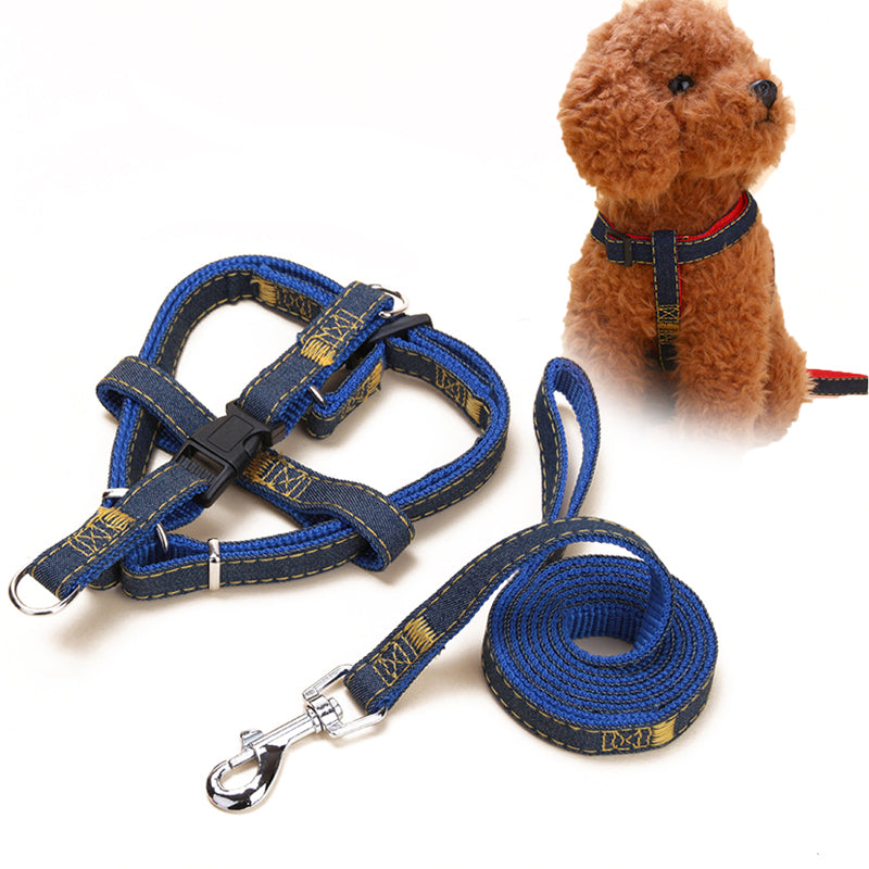 1Set Nylon Puppy Dog Leashes Traction Rope Strong Leash Dog Chest Back Pet Training Supplies Large Dog Harnesses Pet Product