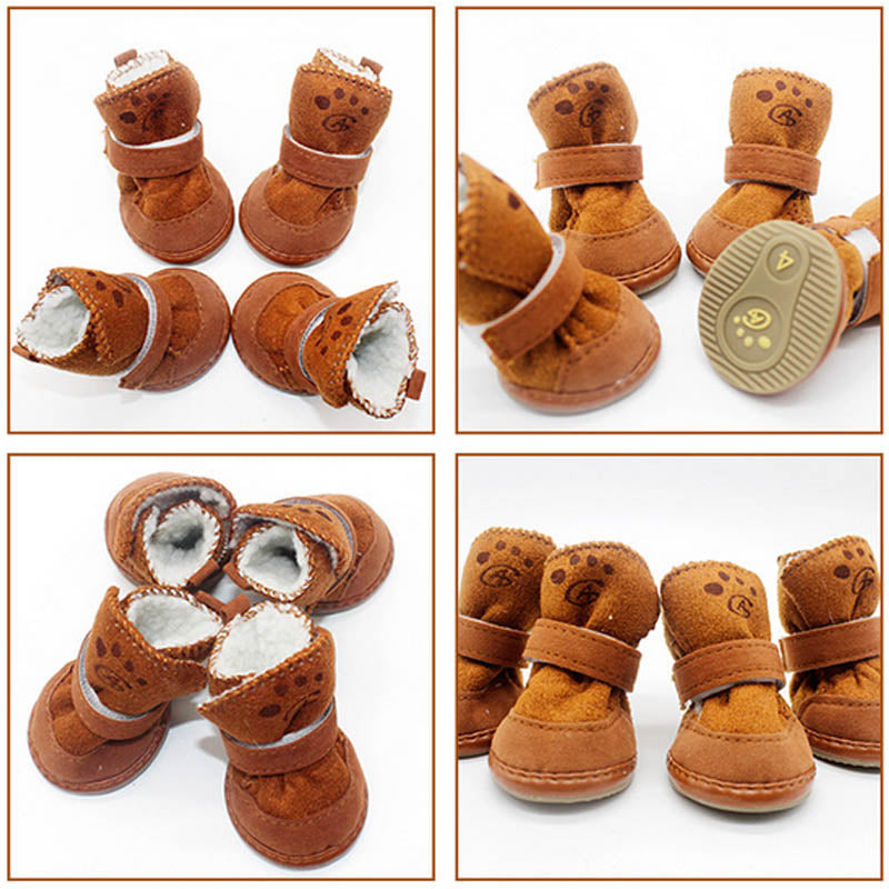 1set 5 Size Classic Winter Cat Pet Dog Shoes Non-slip Soft Cotton Snow Boots for Teddy Chihuahua Small Pet Products