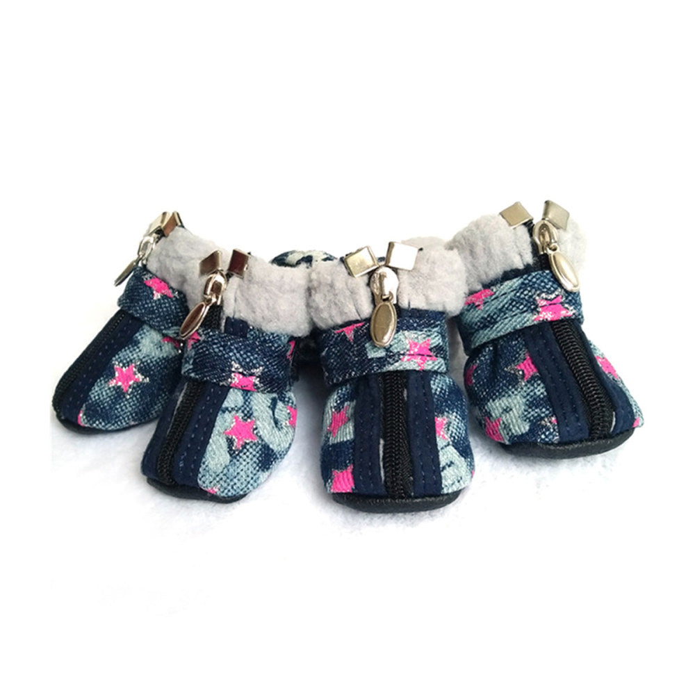 2 Colors Denim Star Pattern Pet Dog Shoes Winter Warm Anti Slip Dog Snow Boots Slip-Resistant Puppy Shoes For Chihuahua