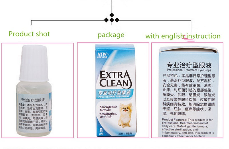 2 PCS a set ! pet dog puppy cat supplies eye care eye drop health care  kill virus Liquid Solution health care