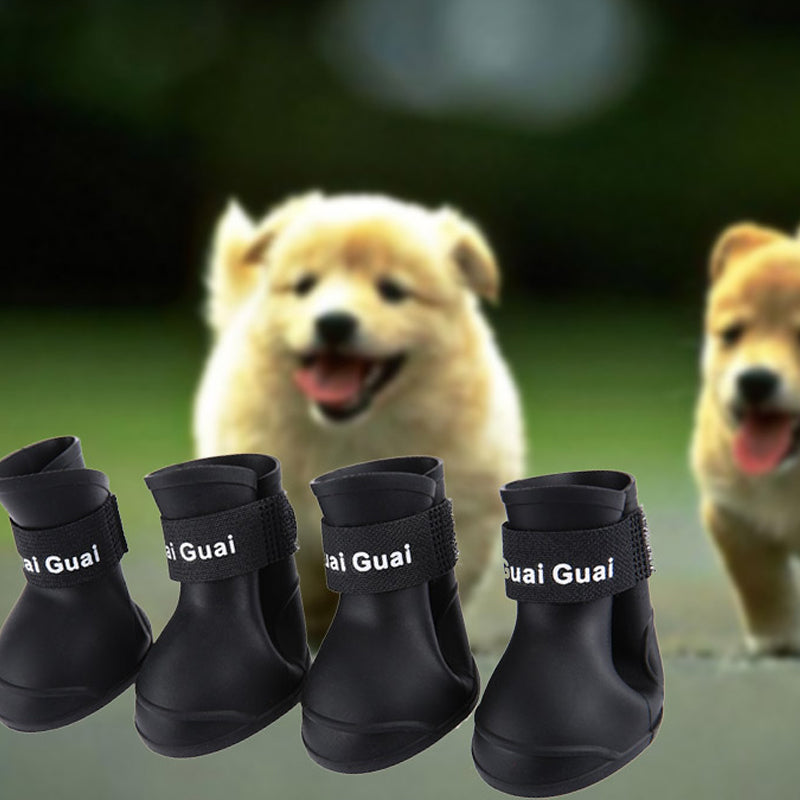 2 Pair Dog Rain Shoes Environmental Dog Cat Rain Shoes Snow-proof Booties Harmless Durable Magic Tape Design Household Supplies