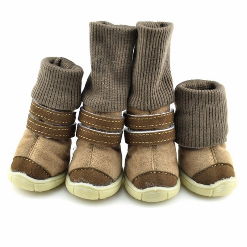 2 Pairs/Sets Anti-slip Cotton Soft Shoes Leather Cashmere Waterproof Boots Pet Dog Shoes