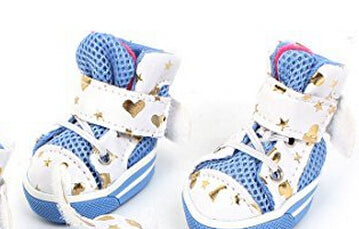 2 Pairs White Blue Heart Printed Mesh Antislip Sole Pet Dog Doggy Sports Pet Shoes For dogs XS size 4