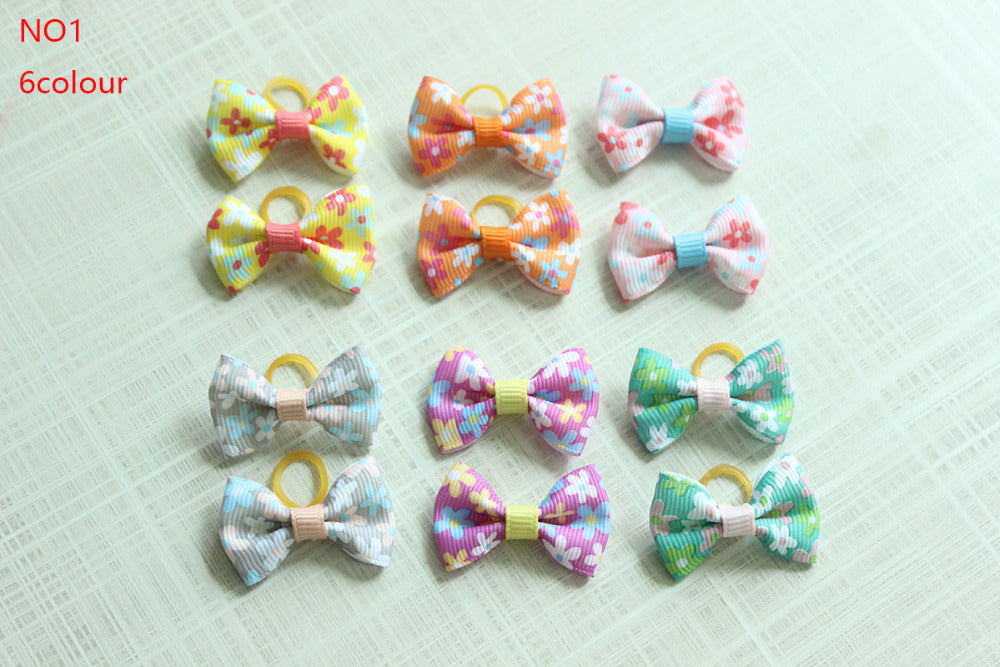 20/50/100pcs Dog Grooming Bows Pet Cat Hair Bows Rubber Bands Cat Pet Grooming Accessories Pet Supplies for samll dogs 33styles