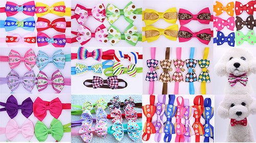 200pcs Mix All Style Dog Bow Ties Pet Necktie Popular Designs Bowtie Collar Pet Puppy Dog Ties Accessories Dog Grooming Supplies