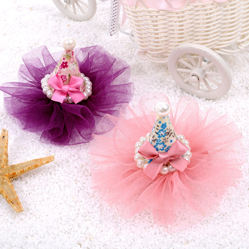 2015 New Korean Pet  mesh hat bow pearl hairpin Pet accessories Dog Grooming Pet Supplies 30pcs