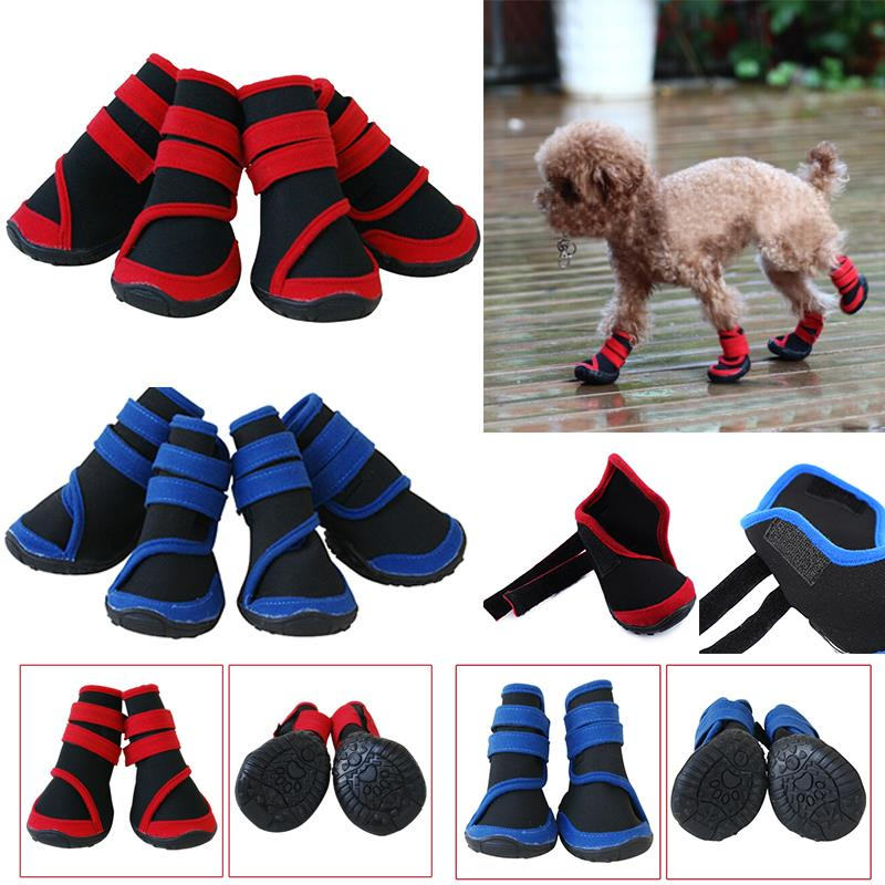 2016 4 pcs Pet Waterproof Boots Protective Shoes All Weather Huskies Large Dog Booties Socks a2S1