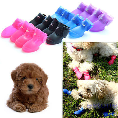 2016 4Pcs 1Set Cute Pet Dog Waterproof Boots Protective PVC Rain Shoes Candy Color