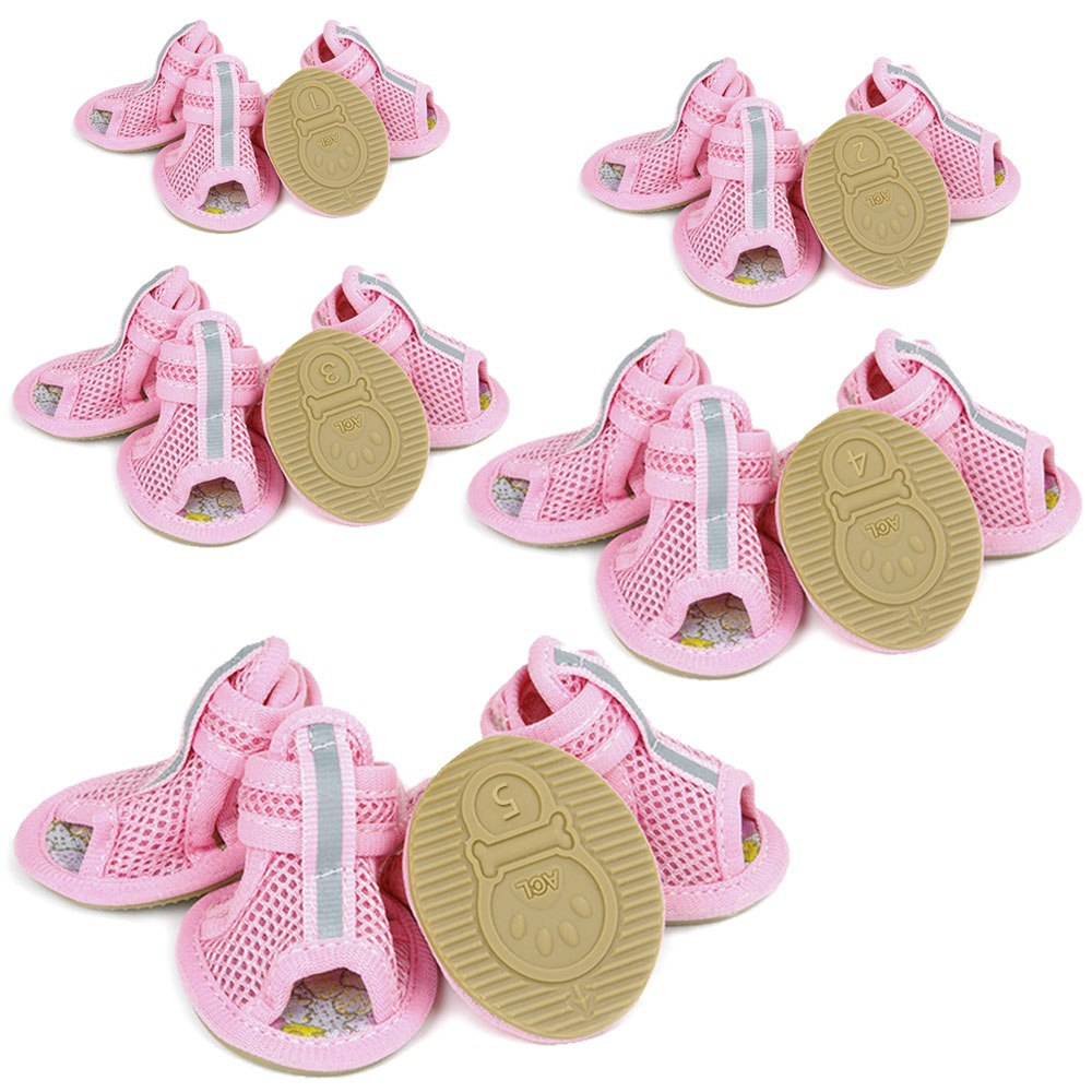 2016 Hot Sale Casual Anti-Slip Small Dog Shoes For Cute Pet Shoes summer Breathable Soft Mesh Sandals Candy Colors 5 Sizes ACL