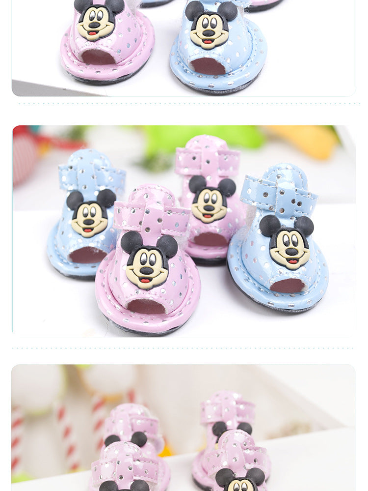 2016  Small Dog Shoes  Cute Pet Shoes summer Breathable Shoes Pomeranian bear 2 color pink blue