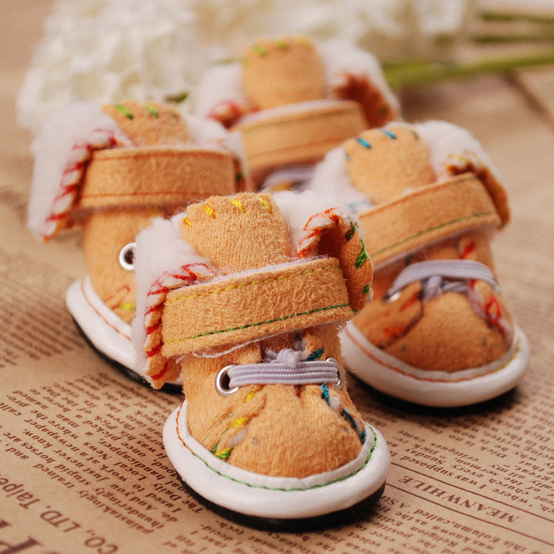 2016 new arrival style 4pcs/set outdoor sport  shoes buckskin Waterproof Pet Shoes 2 colors available