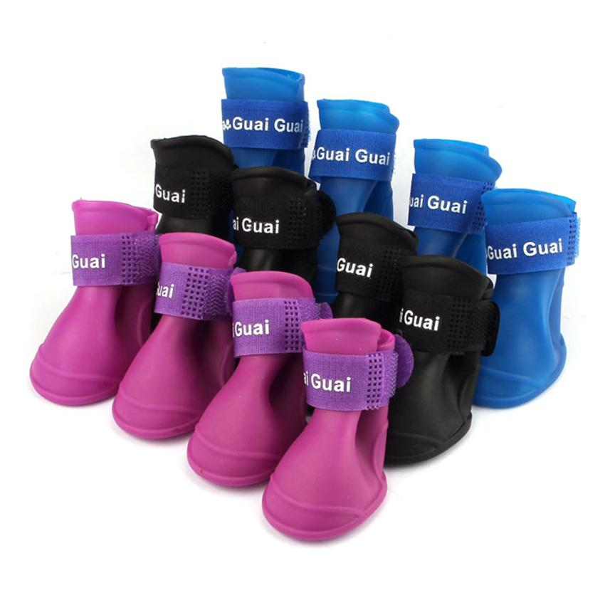 2017 Dog Candy Colors Boots Water proof Rubber Pet Rain Shoes Booties mascotas S/M/L