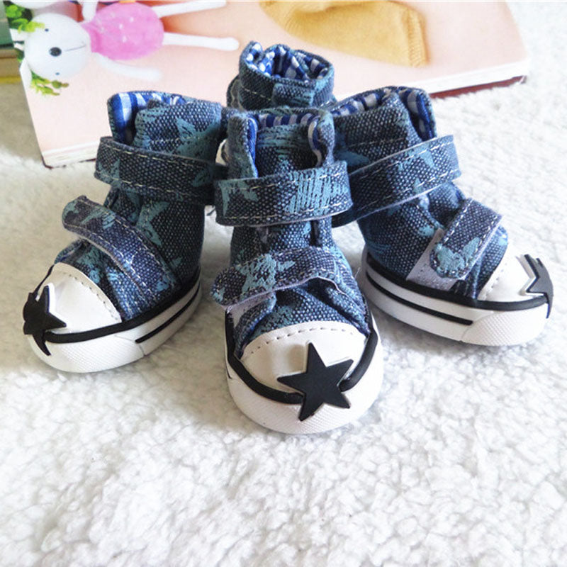 2017 Fashion Dog Shoes for Dogs Warm Anti Slip Pet Dog Shoes Casual Jean Boots for Small Medium Dogs Pet Product 10d30