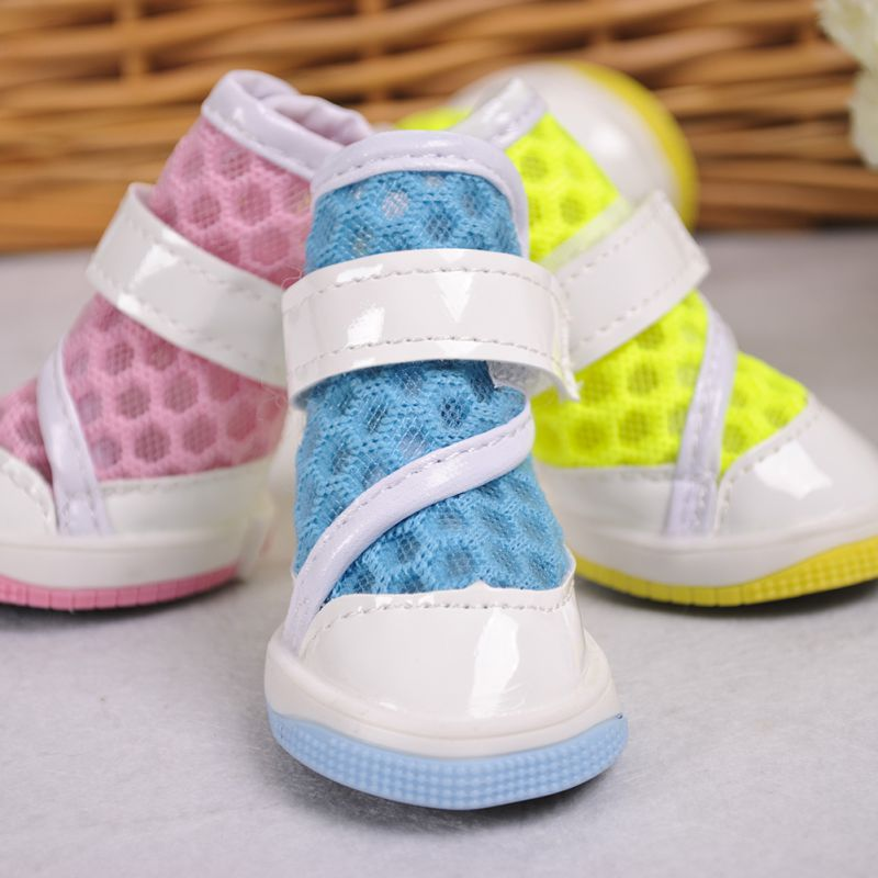 2017 High Quality Fashion Dog Shoes PU Lovely Breathable Pet Shoes For Pet Supplies 4PC/SET