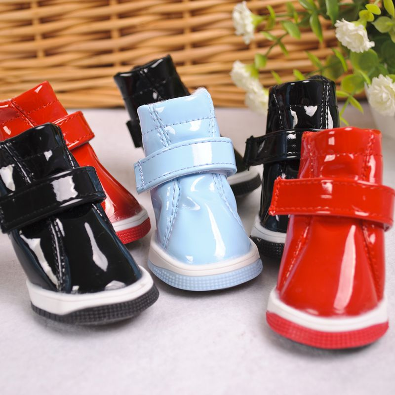 2017 New 4PC/SET Dog Shoes PU Lovely Pet Shoes Warm And Fashion For Pet Supplies
