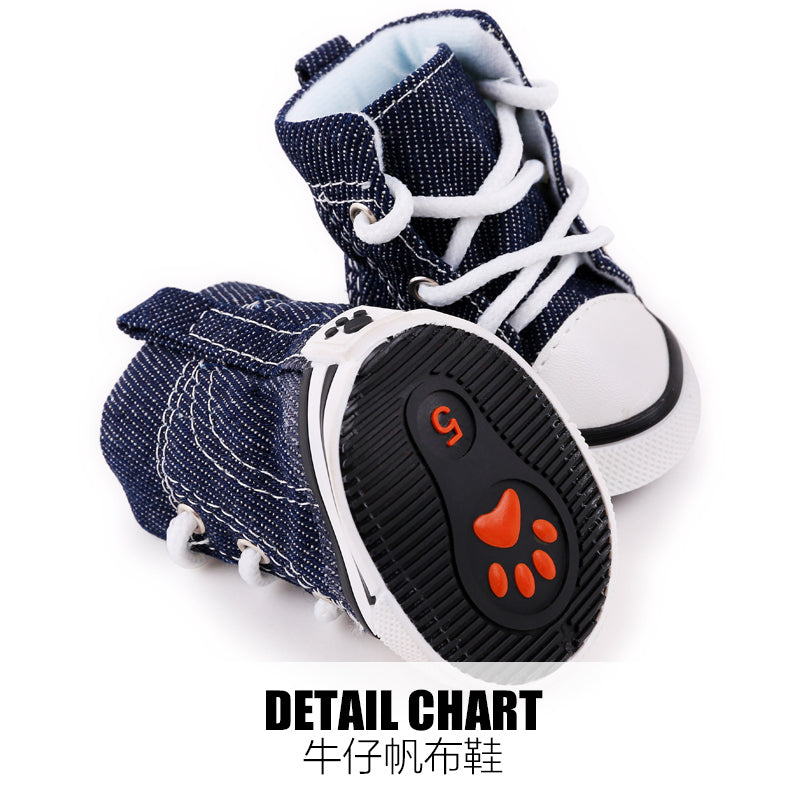 2017 New Arrival 4pcs\lot Blue Puppy Pet Dog Denim Shoes Sport Casual Anti-slip Boots Sneaker Shoes For Chihuahau Freeshipping