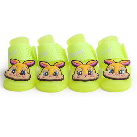 2017 New Fashion Pet Dog Shoes Cute rubbit Soft Dog Rain Shoes Five Color Size S-L Spring Boots For chihuahua Free Shipping